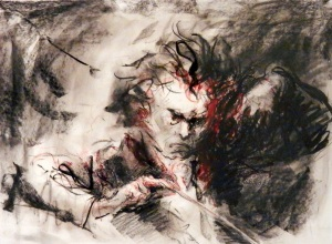 Beethoven Conducting Charcoal and Oil on Paper, Framed 21 x 28 in by Javier Cabada