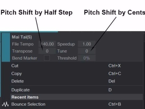 Pitch Shifting by half steps and by cents